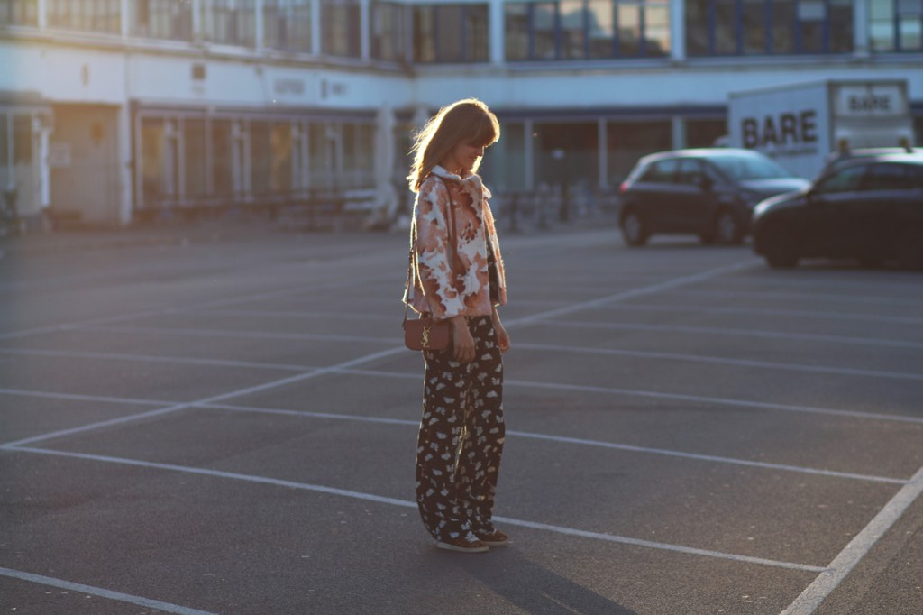 rockpaperdresses, cathrine nissen, yrsl universite small bag. ganni coat, zara 70s co-ord