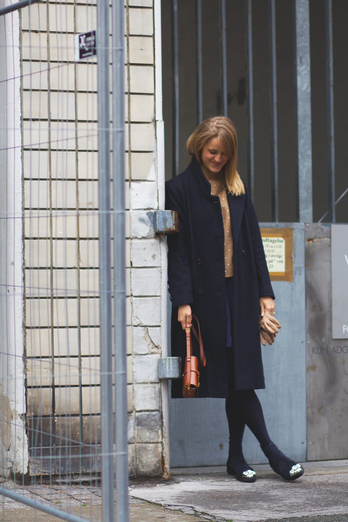 rockpaperdresses, cathrine nissen, cos sequin dotted top, ganni coat, ysl universite bag