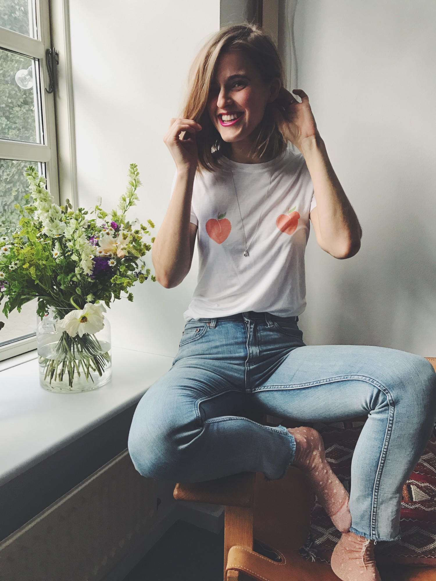 linfield peach t-shirt Ganni, rockpaperdresses, cathrine widuon wichmand