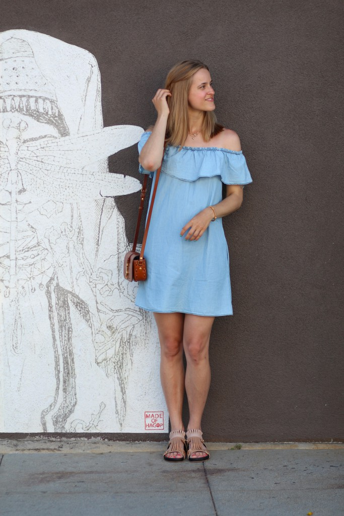 Mango off shoulder denim dress, rockpaperdresses, cathrine nissen, rockpapercali, venice beach, ootd, dagens