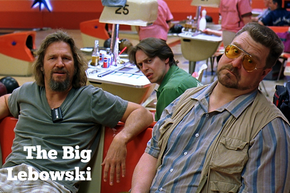 "Jeff Bridges as ""The Dude"" hangs out at the bowling alley with his buddies Walter (John Goodman) and Donny (Steve Buscemi). Courtesy Universal Studios."